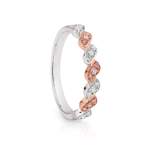 9ct white gold 0.20ct Australian pink diamond ring