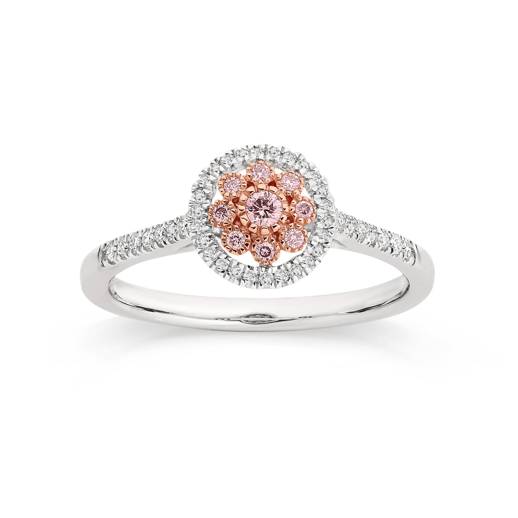 9ct white gold 0.25ct Australian pink diamond ring
