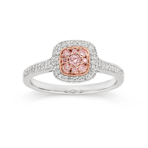 9ct white gold 0.33ct Australian pink diamond ring