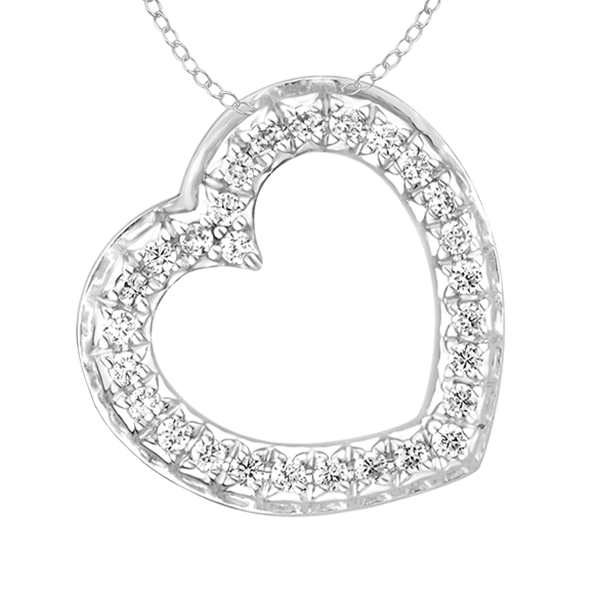 9ct white gold 0.25ct diamond heart pendant