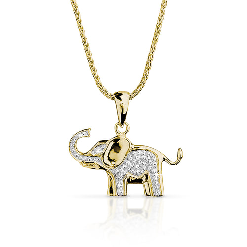 9ct gold diamond elephant pendant