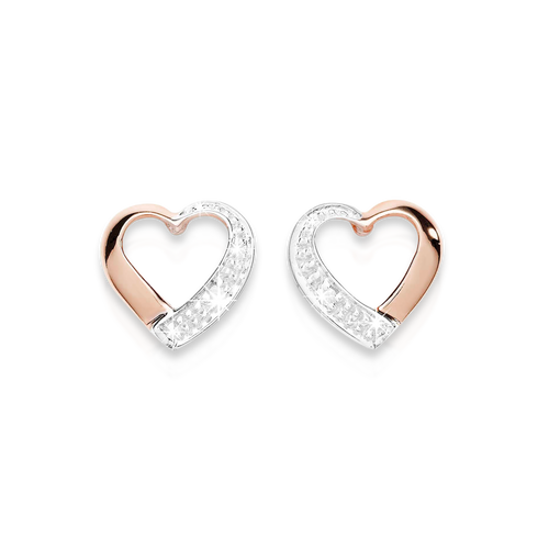 9ct rose gold diamond studs