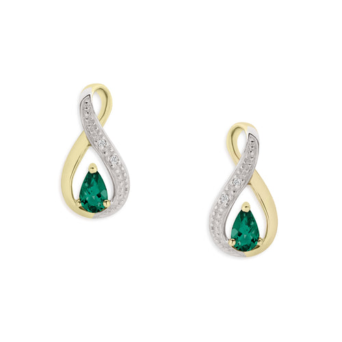 9ct gold emerald & diamond infinity studs