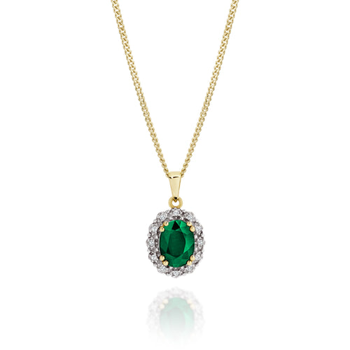9ct gold emerald & diamond pendant