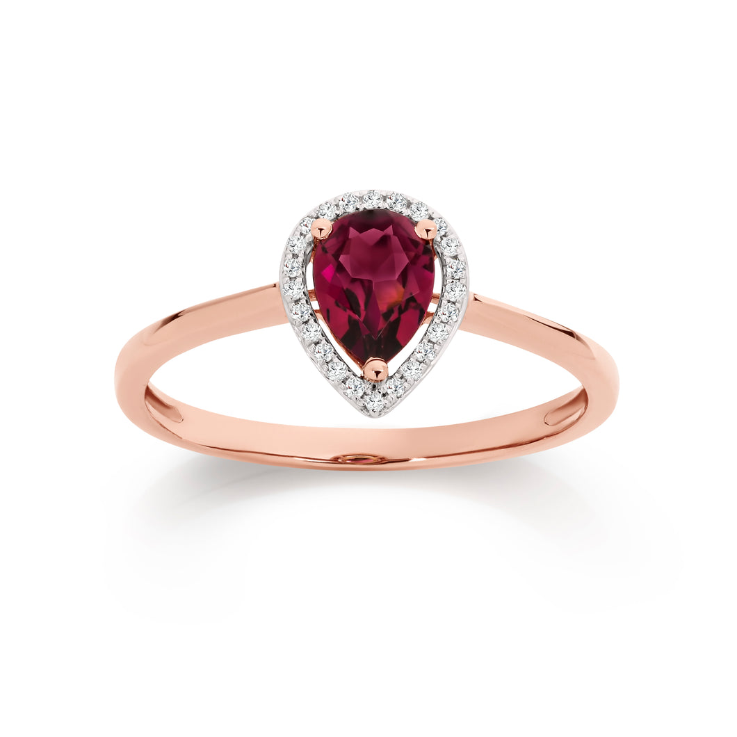 9ct rose gold rhodolite garnet & diamond ring