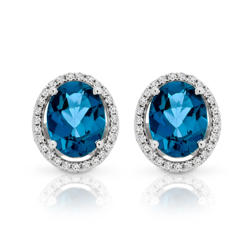 9ct white gold london blue topaz & diamond studs