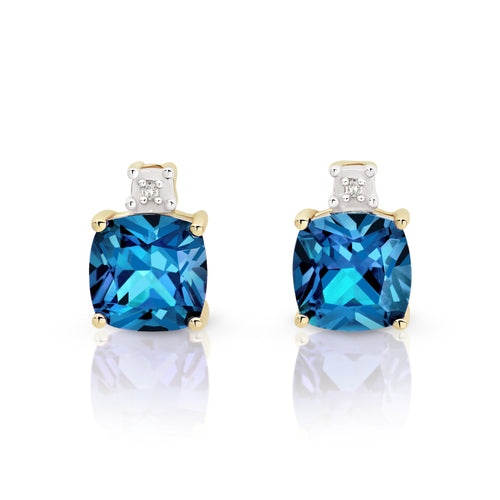 9ct gold london blue topaz & diamond studs