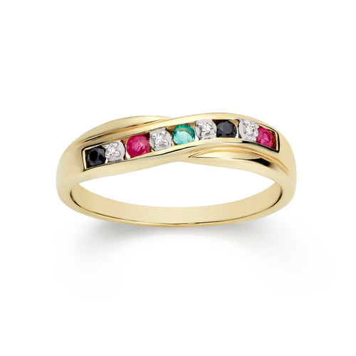 9ct gold multicolour gemstone ring
