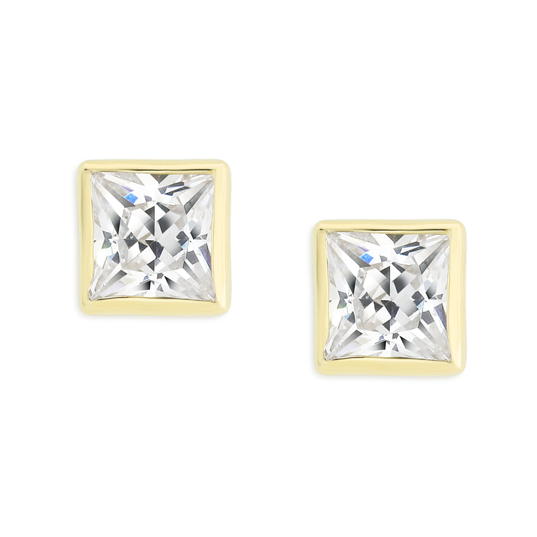 9ct gold square stone set studs (4mm)