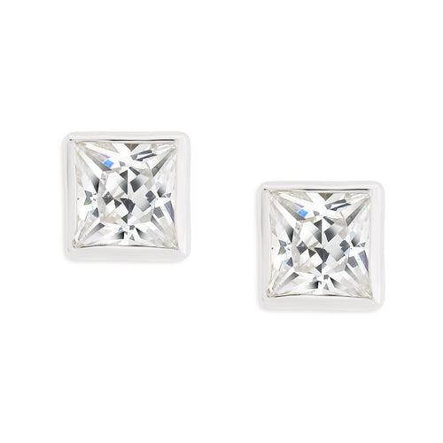 9ct white gold square stone set studs (4mm)