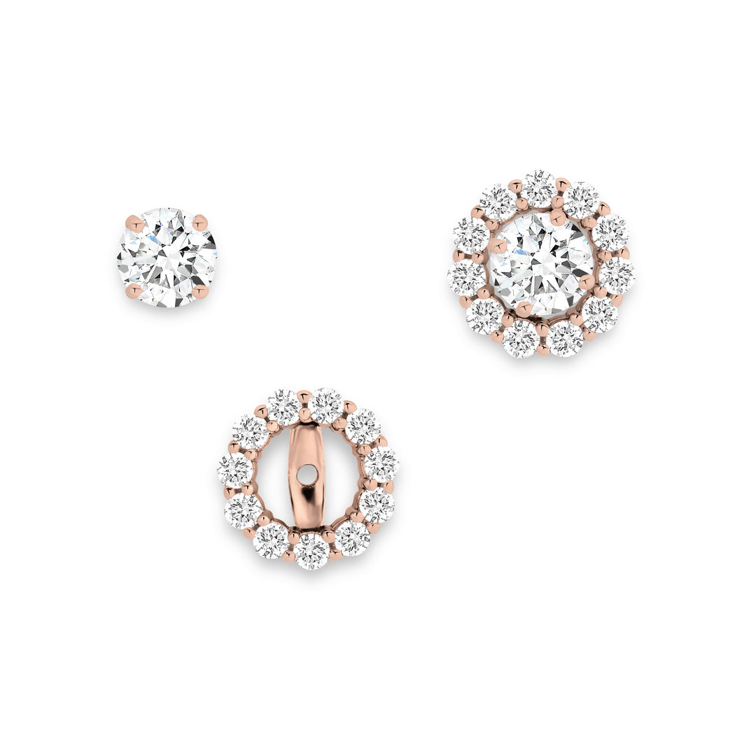 9ct rose gold 2 in 1 earrings