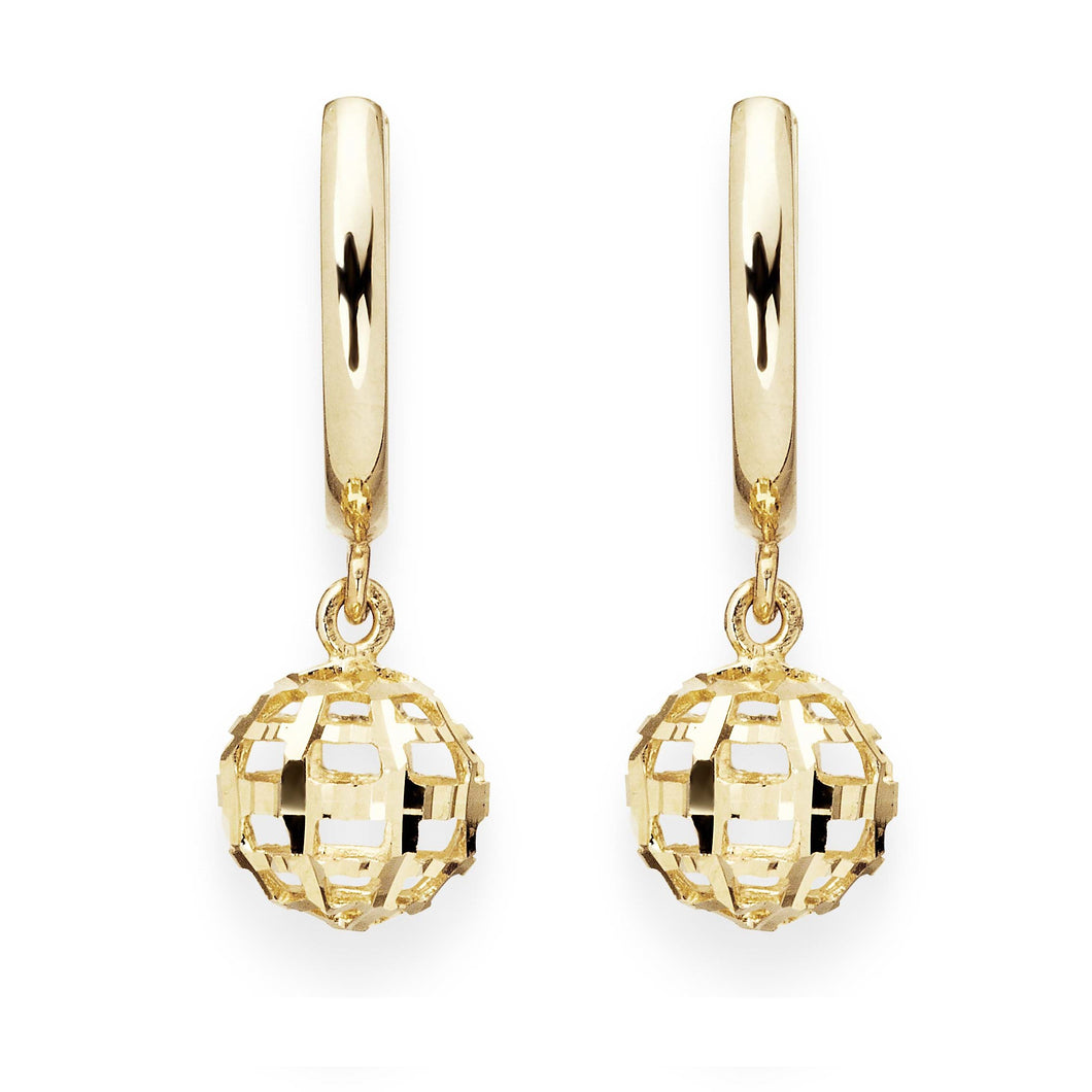 9ct gold sparkle drop earrings