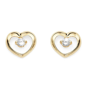 9ct gold stone set heart studs