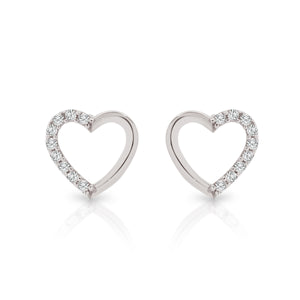 9ct white gold heart studs