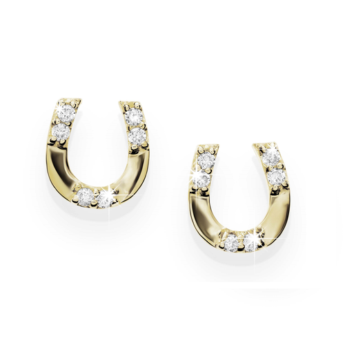 9ct gold stone set horseshoe studs