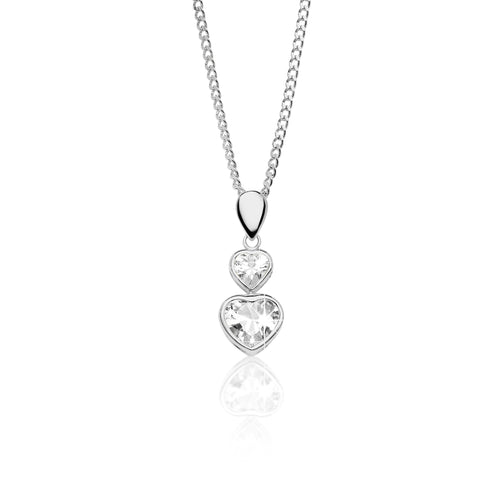 9ct white gold stone set heart pendant