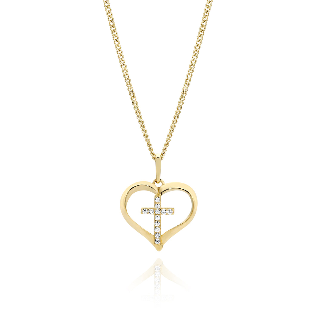 9ct gold stone set heart pendant