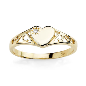 9ct gold heart signet ring