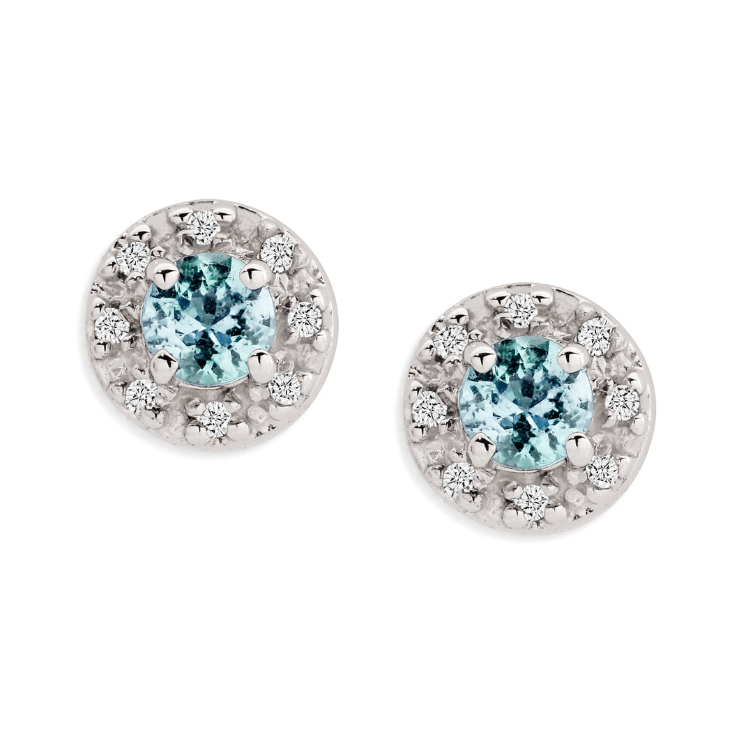 9ct white gold aquamarine & diamond studs