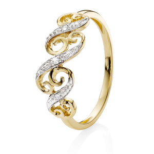 9ct gold diamond set filigree ring