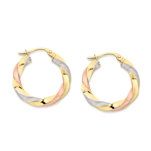 9ct gold twist hoops 15mm