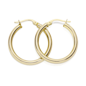 9ct gold polished hoops 20mm