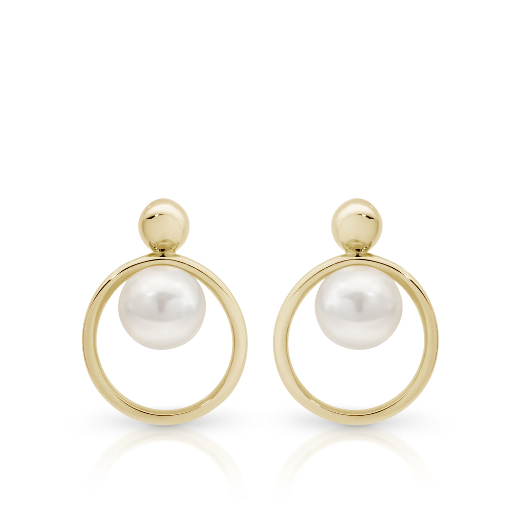 9ct gold pearl drop earrings