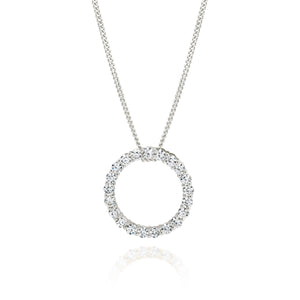 Silver cubic zirconia circle necklace