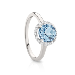 9ct white gold blue topaz and diamond ring