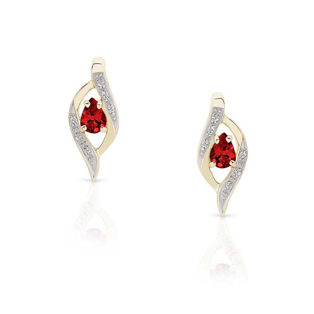 9ct garnet & diamond studs