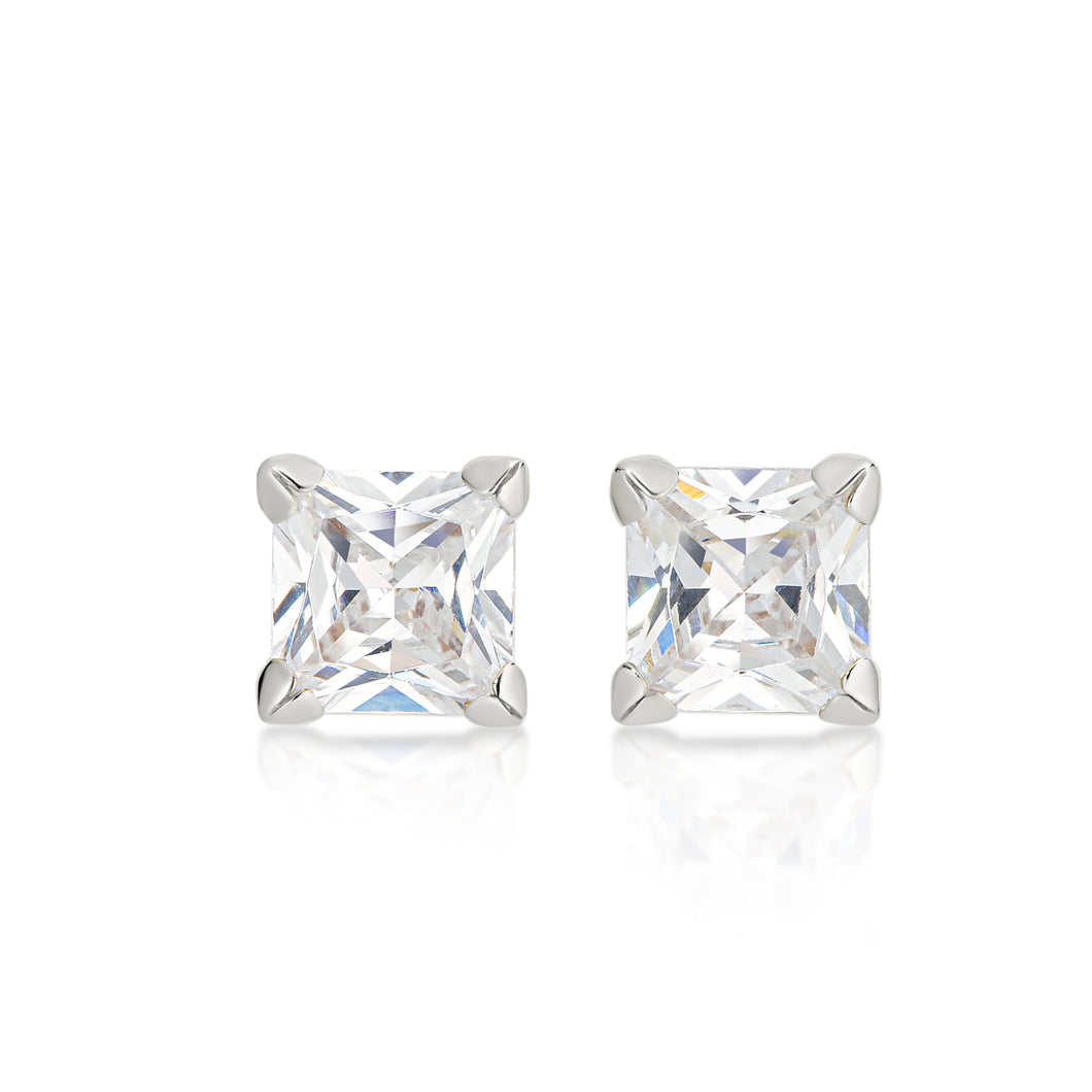 9ct white gold 5mm stone set studs