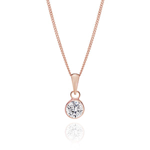 9ct rose gold 6mm bezel stone set pendant