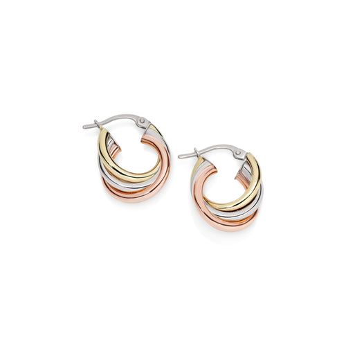 9ct 3 tone russian hoops 10mm