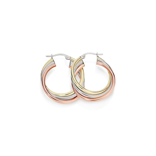 9ct 3 tone russian hoops 20mm