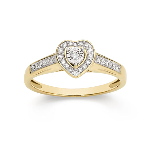 9ct 0.15ct diamond heart ring