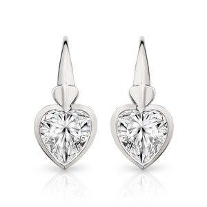 9ct white gold cubic zirconia heart drops