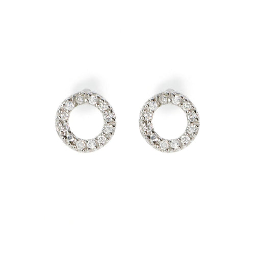 GEORGINI Sterling Silver Cubic Zirconia Baby Circle Stud Earrings