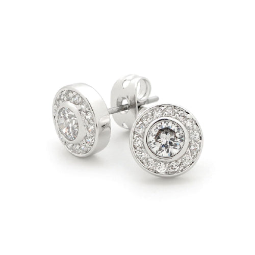 GEORGINI Sterling Silver Cubic Zirconia Halo Stud Earrings