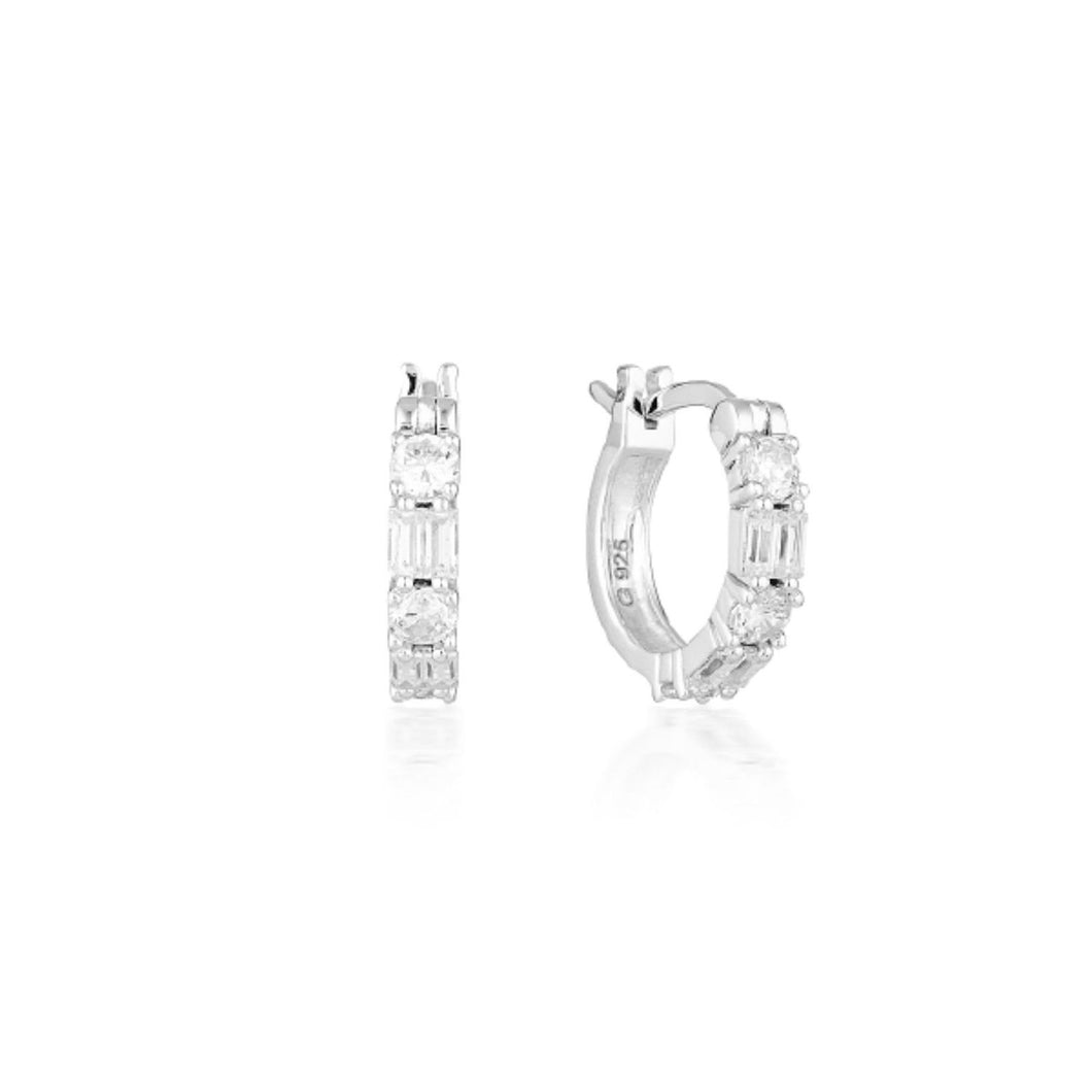 GEORGINI Irina Small Sterling Silver Cubic Zirconia Hoop Earrings