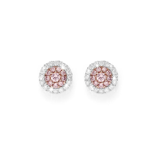 9ct white gold 1/4ct Australian pink diamond studs