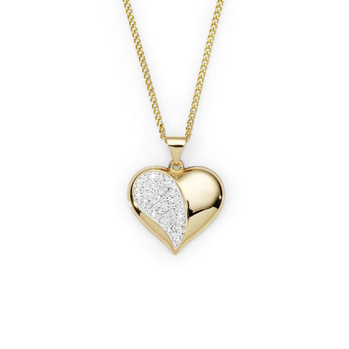 9ct gold bonded crystal heart pendant