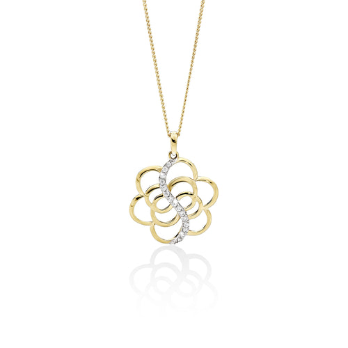 9ct gold cubic zirconia flower pendant