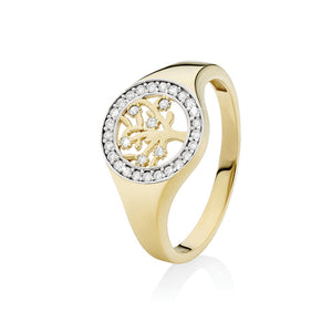 9ct gold cubic zirconia tree of life ring