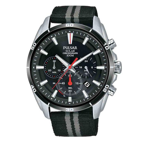 PULSAR Gents Solar Chronograph Watch, 100m