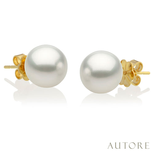 AUTORE 18ct gold 10mm South Sea pearl studs
