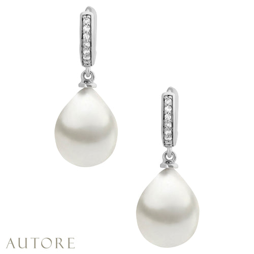 AUTORE 9mm South Sea pearl  and diamond huggie earrings