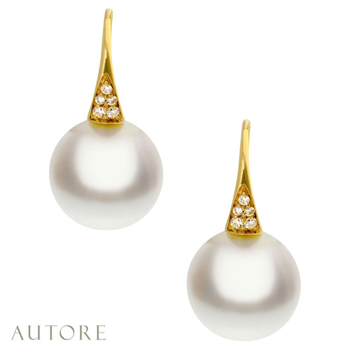 AUTORE 18ct gold 11mm South Sea pearl and diamond drop earrings