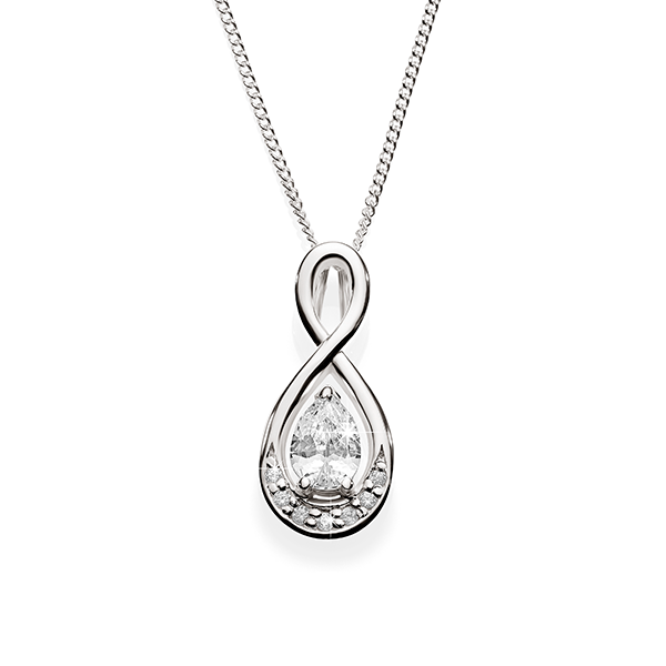 Silver pear shape cubic zirconia infinity necklace