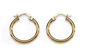 9ct gold polished hoops 15mm