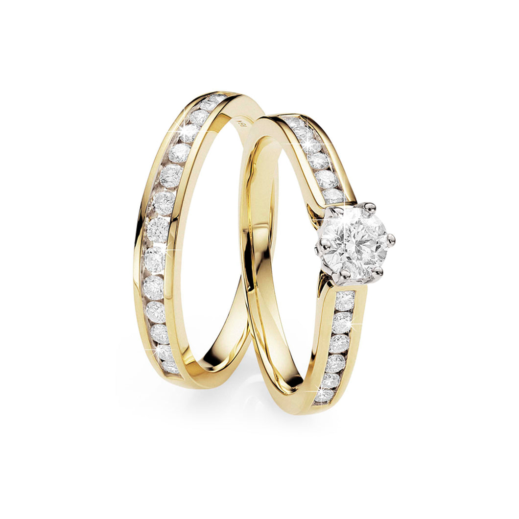 18ct gold 1ct diamond ring with matching band